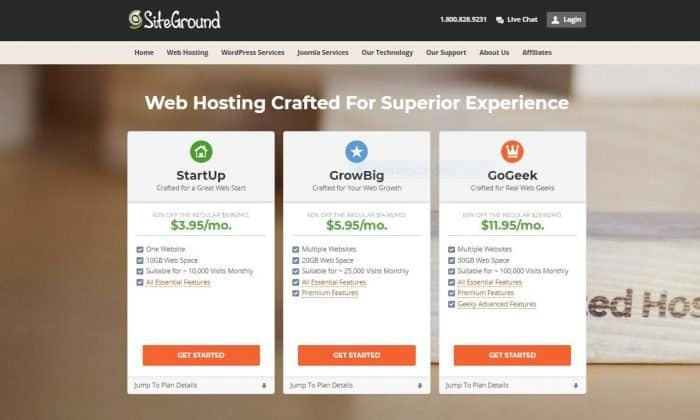 siteground hosting sign up page