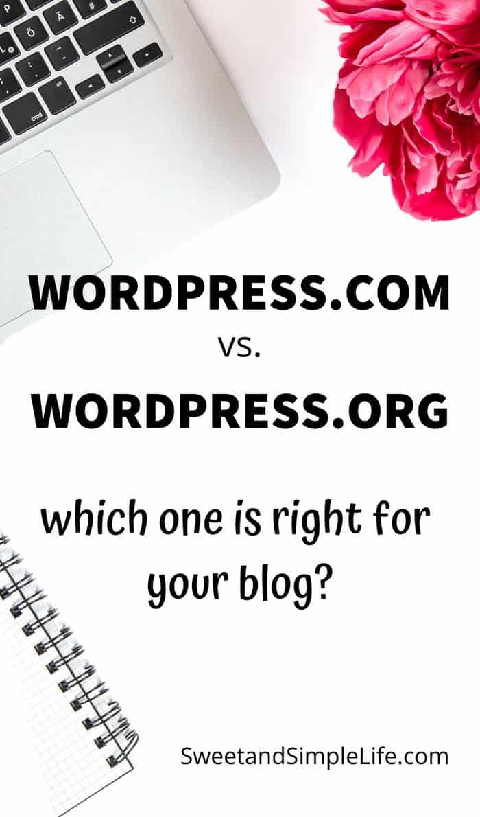 white desk with laptop and pink flowers, text overlay that says wordpress.com vs wordpress.org