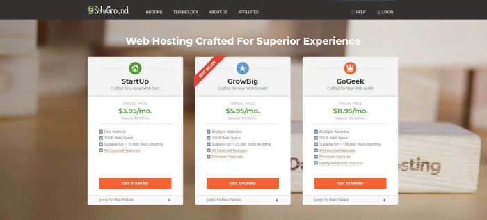 Choose a hosting package through Siteground