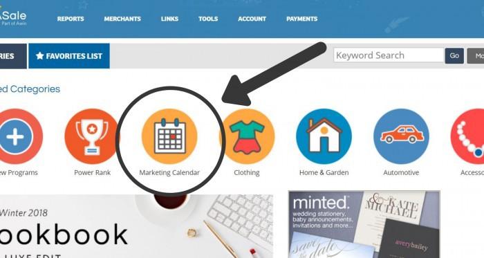 Shareasale Dashboard: find the marketing calendar