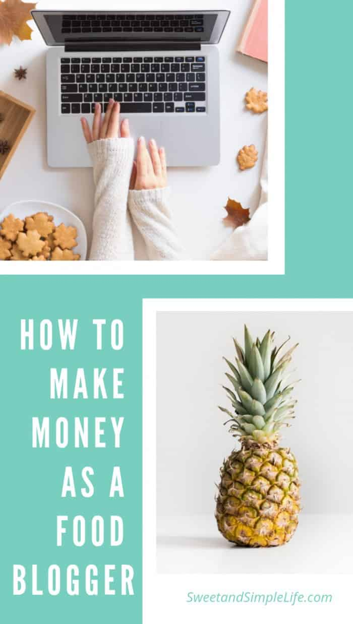 Teal background with two images overlaid. One is a laptop on a white desk, the other is a pineapple. Text overlay says