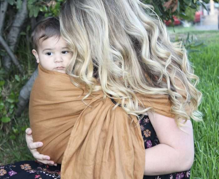 Mom with baby in ring sling
