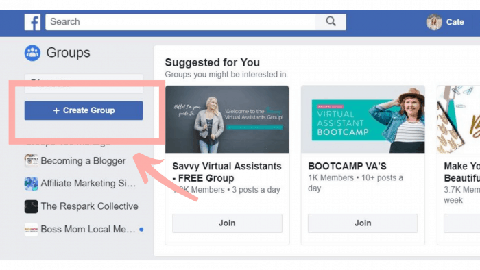 Image of a blue Facebook Button that says Create Group