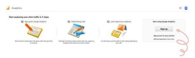 Screenshot of the steps for installing google analytics