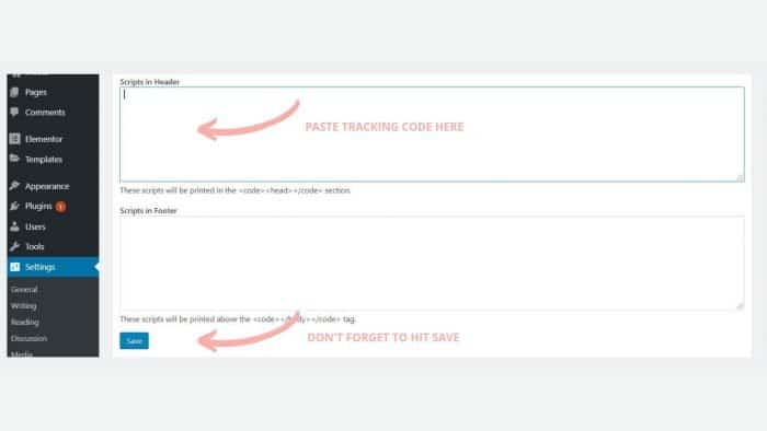 Screenshot of what you see with the insert headers and footers plugin
