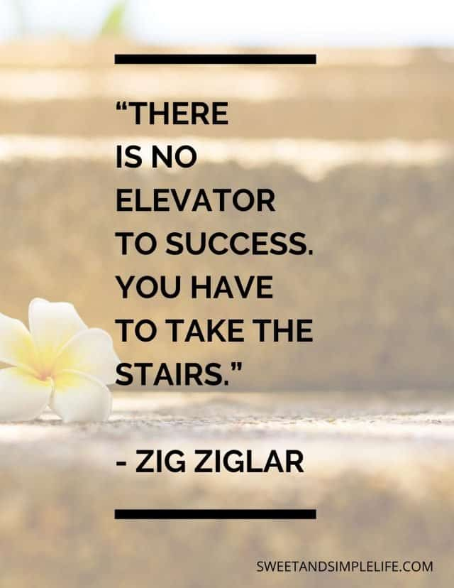 """Yellow flower on stairs with text quote that says: """"There is no elevator to success. You have to take the stairs."""""""