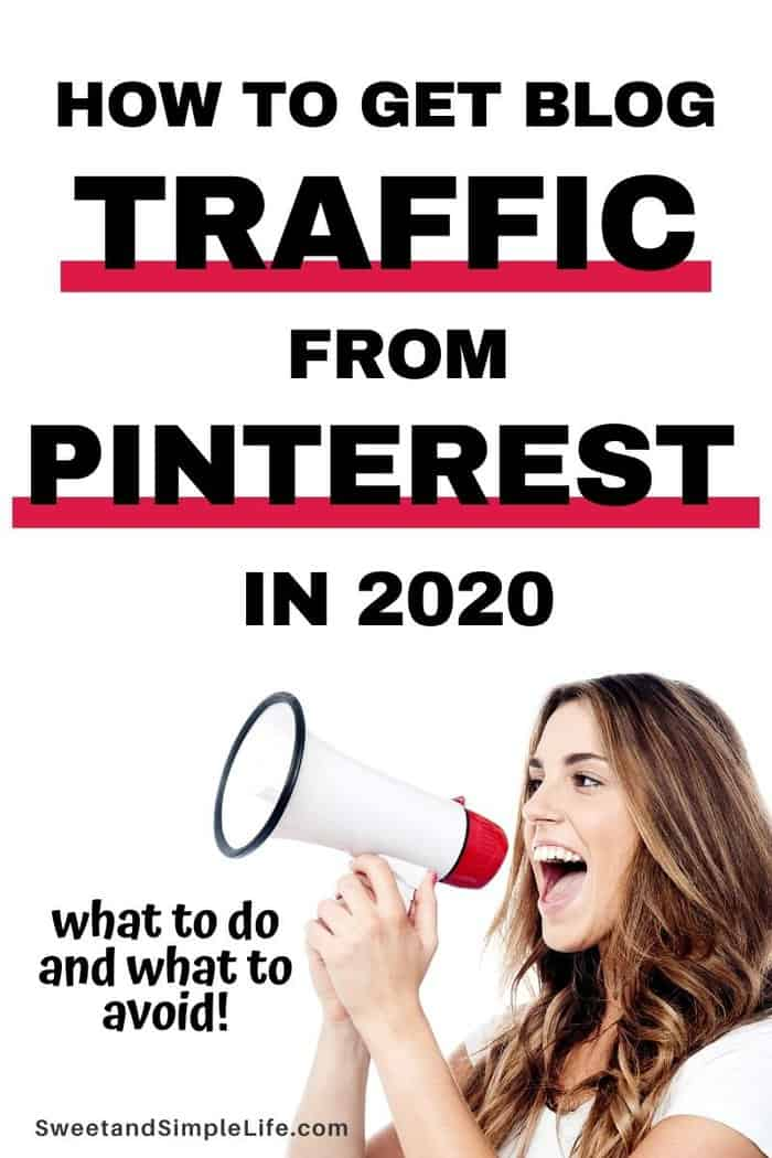 Brunette woman with a bullhorn, white background, text overlay says get blog traffic from Pinterest in 2020