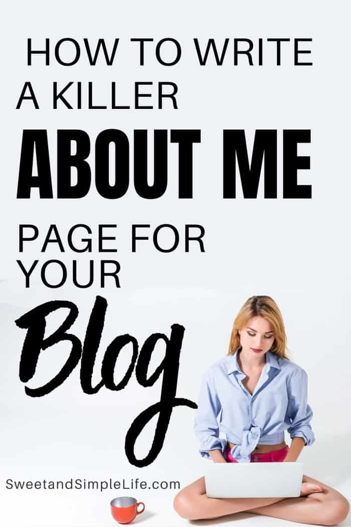 blonde girl typing on her laptop with black text overlay that says 'how to write a killer about page for your blog'