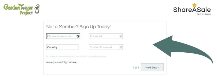 Screenshot of Garden Tower Affiliate Program signup page