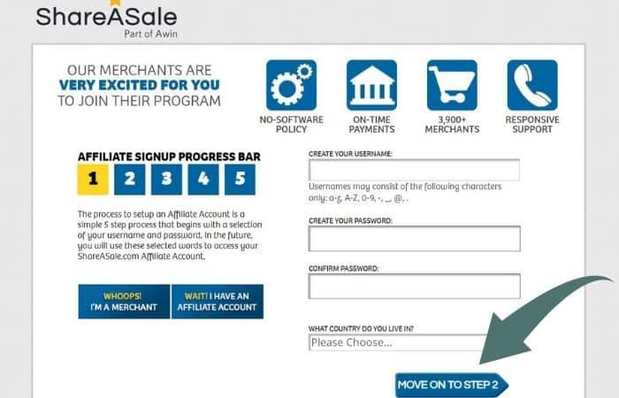 Screenshot of ShareaSale homepage