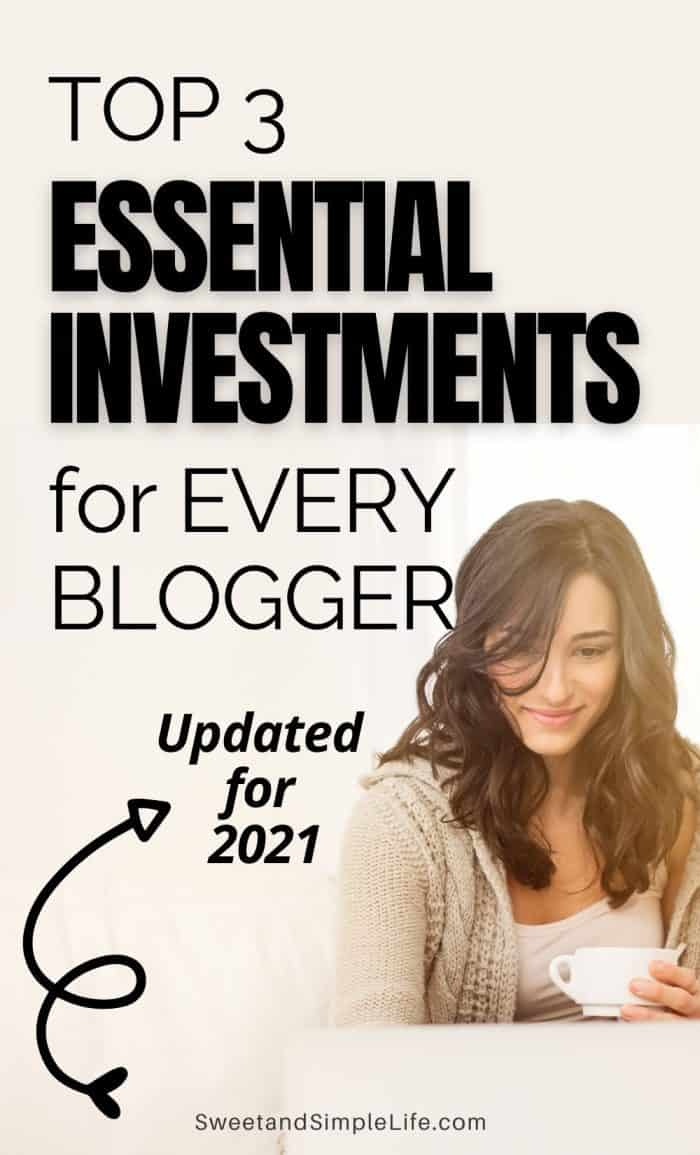 woman with brown hair holding a coffee cup and smiling. Black text overlay says top 3 essential investments for new bloggers.