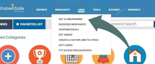screenshot of the share-a-sale dashboard