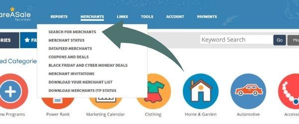screenshot of share-a-sale dashboard