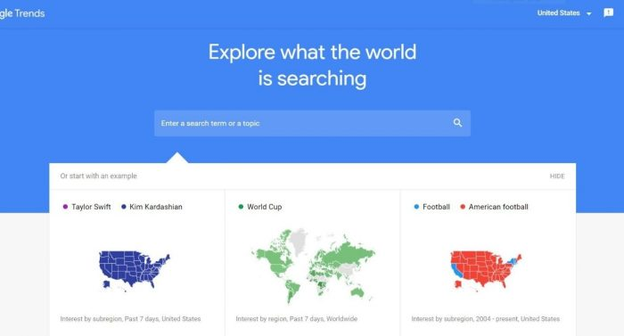 Screenshot of Google Trends homepage and search bar